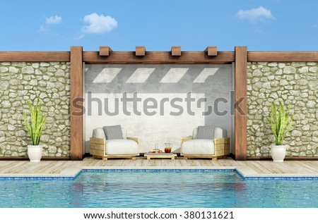 Garden with stone wall, swimming pool and two pallet armchair in a sunny day - 3d Rendering