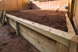 Garden Wooden Sleeper Retaining wall