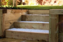 Garden Wooden Sleeper Steps Landscaping