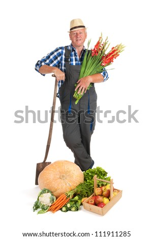 Gardener proud on vegetables fruit and flowers