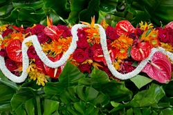 Gardenia, red roses and gree leaf, Thai style fresh flower decoration