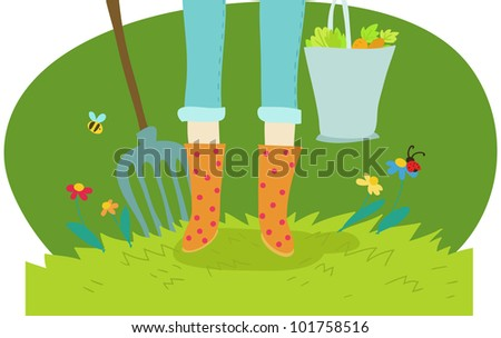 gardening and cultivation cartoon icon on green - stock photo