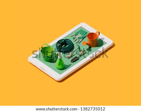 Gardening and horticulture app: isometric tools on a smartphone touch screen display #1382735012