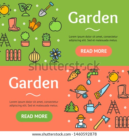 Gardening Banner Horizontal Set Template Poster with Color Outline Icons with Outline Icons on Red and Green. illustration
