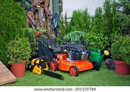 Gardening equipment, orange lawnmower, yellow chainsaw, green watering can, garden statue of a hedgehog, garden plants in pots in the garden