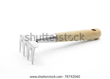 gardening fork trowel lute isolated on white