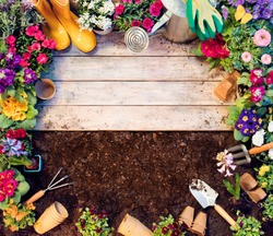 Gardening Frame - Tools And Flowerpots On Wooden Table And Dirt