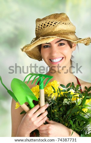 gardening girl portrait