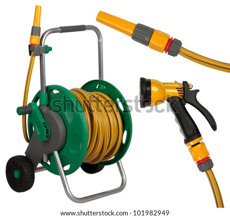 Gardening hose with nozzles isolated on white background