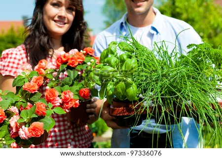 Gardening in summer - happy couple with fresh herbs and red flowers