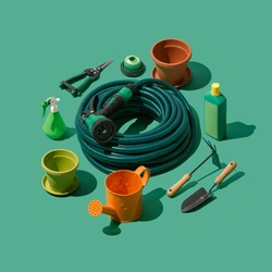 Gardening, landscaping and horticulture isometric tools collection on green background