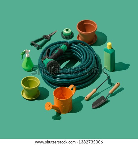 Gardening, landscaping and horticulture isometric tools collection on green background #1382735006