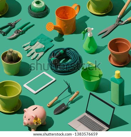 Gardening, landscaping and horticulture isometric tools collection on green background #1383576659