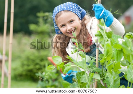Gardening - little girl  working in vegetable garden