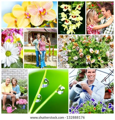 Gardening people with flowers and plants. Collage background.