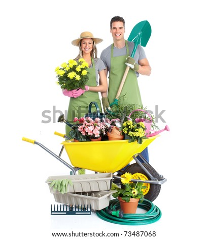 Gardening. People workers with flowers. Isolated over white background