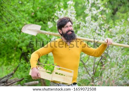 Gardening. Plants. Farm. Work in garden. Spring. Gardener with gardening shovel. Work in garden. Gardener work. Smiling man preparing to planting.