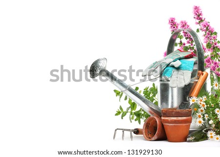 Gardening tools and flowers isolated on white with copy space