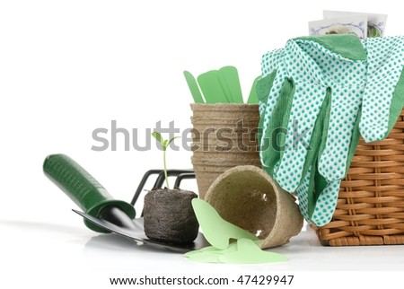 Gardening tools and seedling,isolated on white background.