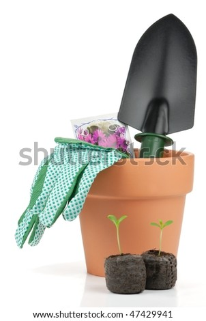 Gardening tools and seedling on white background.