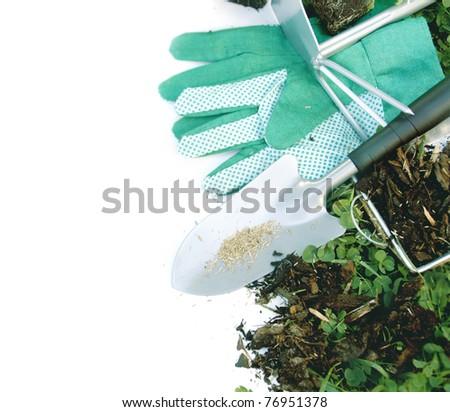 Gardening tools in grass