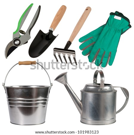 Gardening tools isolated on white background
