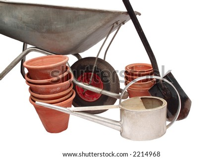 Gardening tools on  white background, isolated