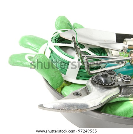 gardening tools, secateurs, trowel, fork, gloves and wire in tray on white background