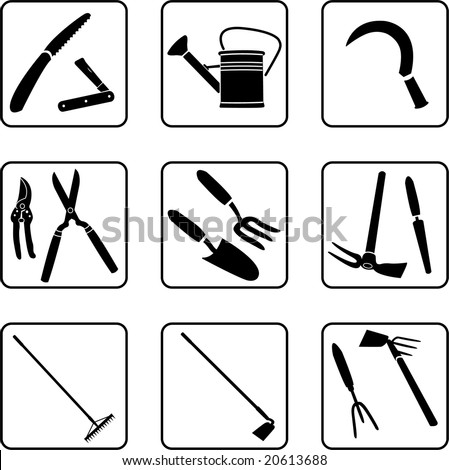 gardening tools silhouettes (also available in vector format)