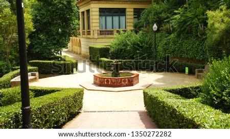 Gardens and ornamental structure in Montjuic, Barcelona, Catalunya, Spain, Europe #1350272282