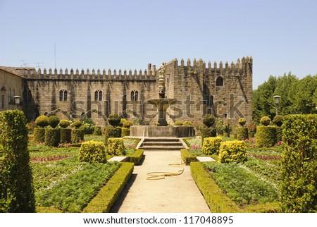 Gardens of Santa Barbara with castle of Braga, Portugal