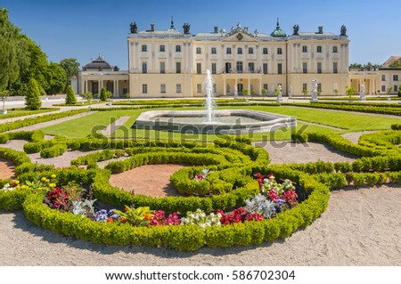 Gardens of the palace Branicki, the historic complex is a popular place for locals, Bialystok, Poland.