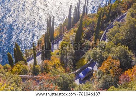 Gardesana Occidentale scenic route, Garda Lake, Brescia province, Lombardy, Italy #761046187