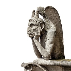 Gargoyle from Notre Dame de Paris (France) isolated on white background