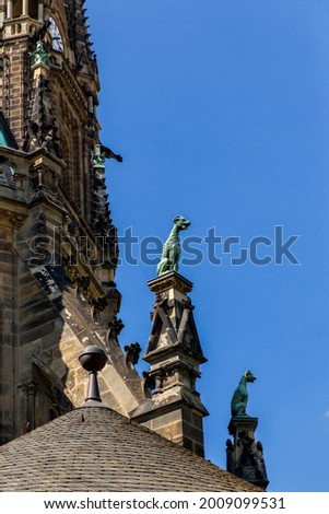 Gargoyles on the facade of St. Peter's Church (German: Peterskirche) is an Evangelical Lutheran parish church in the German city of Leipzig in the federal state of Saxony. Stock photo ©