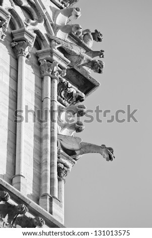 Gargoyles on the Notre Dame Cathedral de Paris overlook the cityscape.