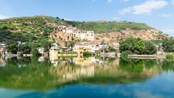 Garh Palace and Taragarh Fort from Nawal Sagar lake, Bundi, India