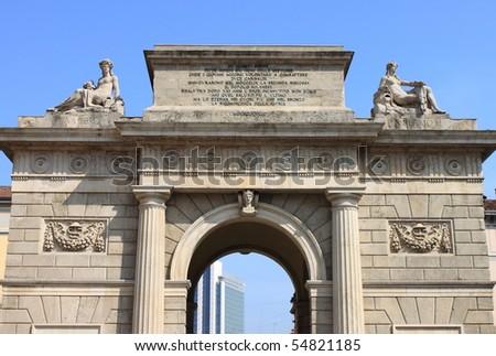 Garibaldi gate on the bastion ring of Milan, Italy - stock photo