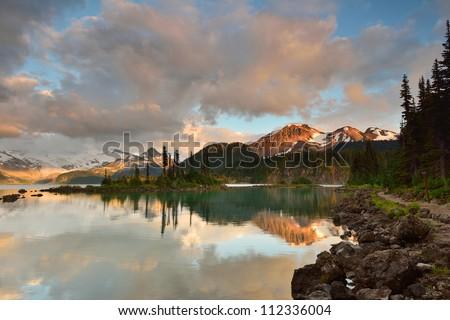 Garibaldi Lake and Price Mountain at sunset, British Columbia