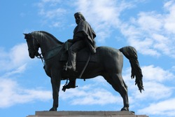 Garibaldi Monument ,The equestrian monument dedicated to Giuseppe Garibaldi is an imposing equestrian statue placed in Rome on the highest point of the Janiculum hill on the square Piazza Garibaldi.