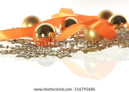 garland and balls and ribbon on the white background