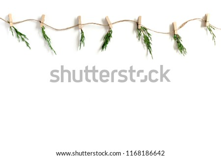 Garland made of conifer tree branches on a white background