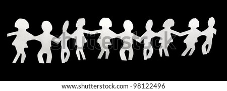 garland of paper men - stock photo