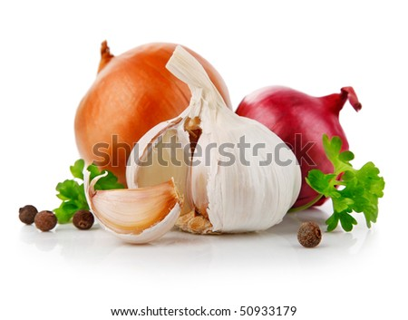 garlic and onion vegetables with parsley spice isolated on white background
