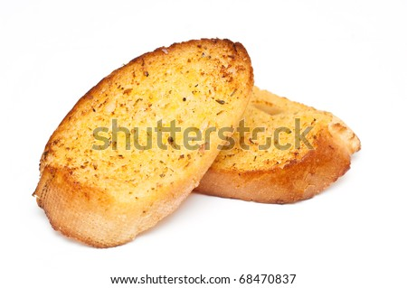 garlic bread against white background
