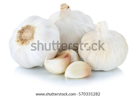 Garlic clove cloves healthy spice isolated on a white background #570331282