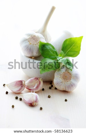 garlic cloves and garlic heads in mortar and pestle - herbs and spices