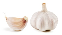 Garlic collection Isolated on white background Clipping Path