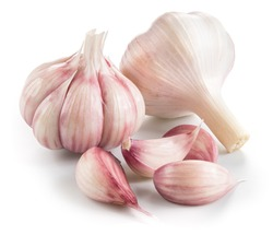 Garlic. Group isolated on white background.