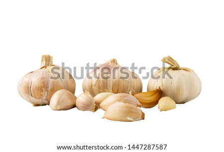 Garlic heads are ingredients for food ingredients. On a white background - images